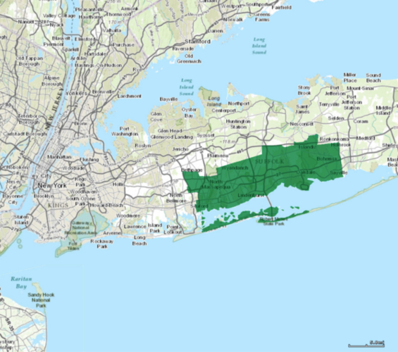Partial map of Long Island, showing NY's 2nd congressional district for the US House of Representatives.